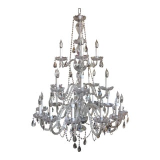 Large Reticulated Glass Drop Crystal Chandelier