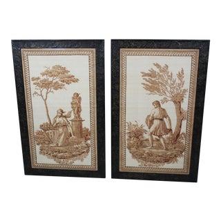 Pair of Scalamandre Italian Neoclassical Prints For Sale