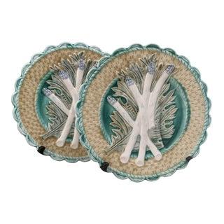 Vintage 1980s Bergdorf Goodman Ceramic Majolica Asparagus Plates- a Pair For Sale