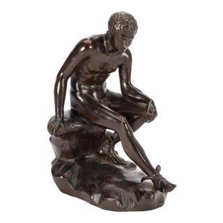 19th Century Grand Tour Style Italian Patinated Bronze Figure of Sitting Hermes For Sale