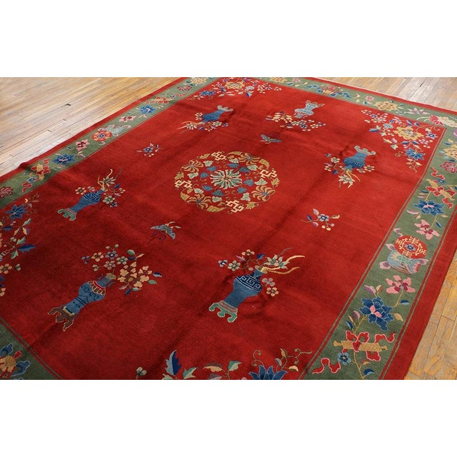 """Asian 1930s Chinese Art Deco Rug - 9'x11'9"""" For Sale - Image 3 of 7"""