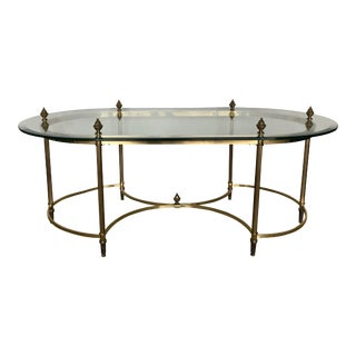 20th Century Hollywood Regency Labarge Brass & Glass Coffee Table For Sale
