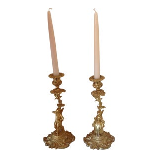Antique French Country Gilt Candlesticks - a Pair For Sale