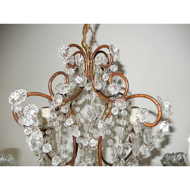 French 1920, French, Swags and Crystal Prisms Chandelier For Sale - Image 3 of 9
