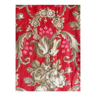 Antique Rococo Floral Arborescent Design Cotton Fabric For Sale