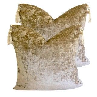 Custom Stone Velvet Pillows With Austrian Tassels - a Pair