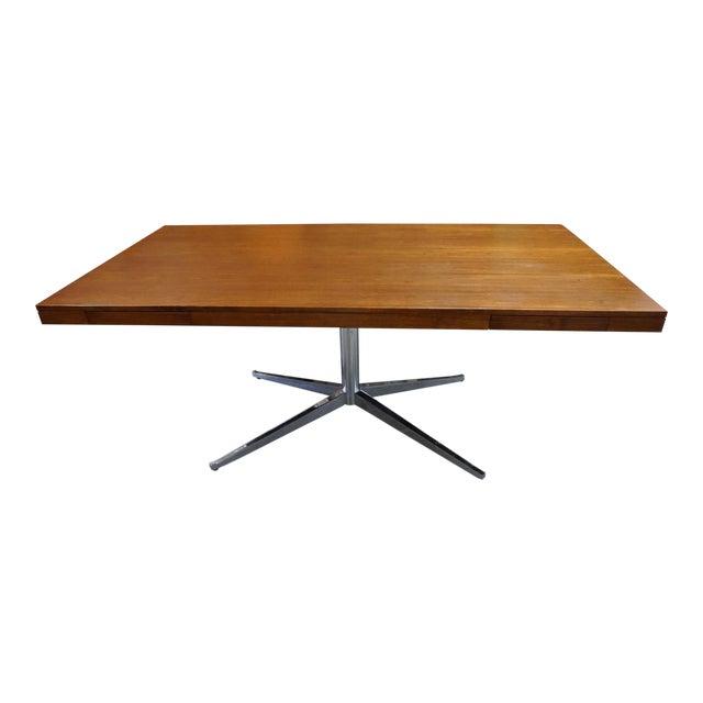 Florence Knoll Walnut on Chrome Base Partner Desk For Sale