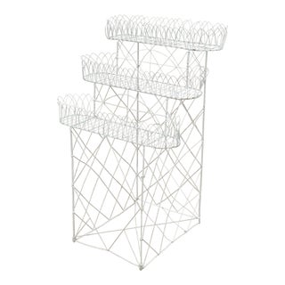 Antique French Victorian 3 Tier White Iron Wire Metal Planter Plant Stand For Sale