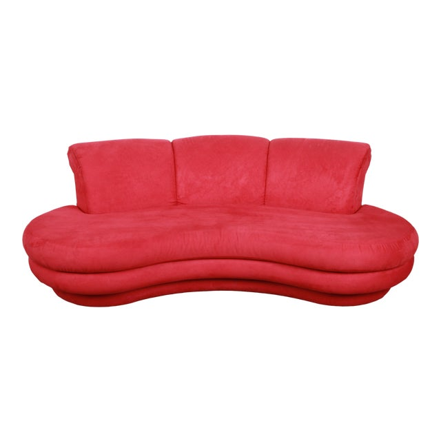 Adrian Pearsall Curved Kidney Shape Red Sofa for Comfort Designs For Sale