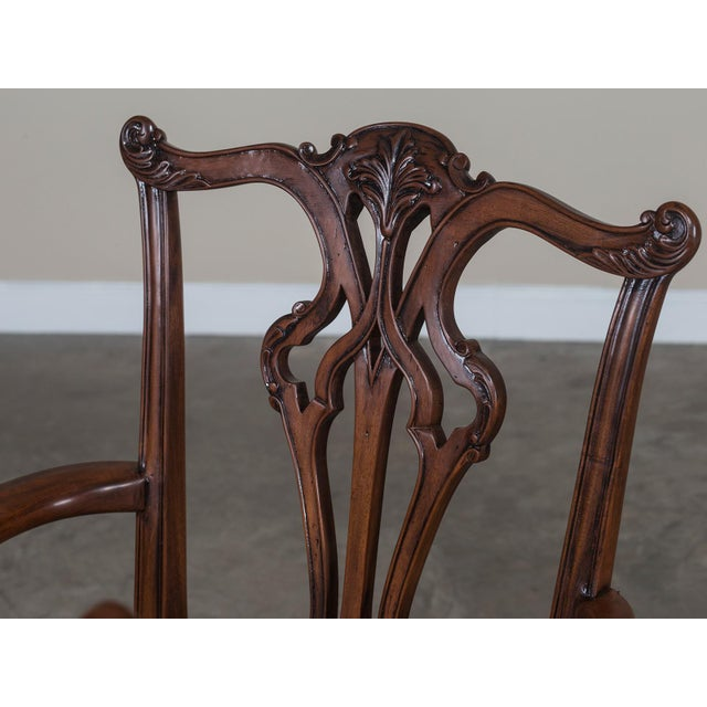 Set Eight George III Chippendale Style Mahogany Dining Chairs, Custom Stain Finish, England - Image 5 of 9