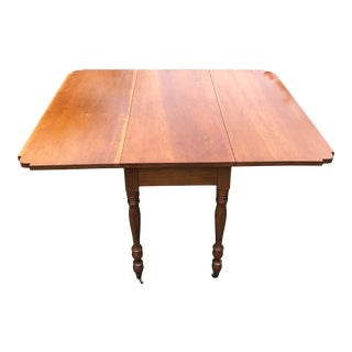 1950s Traditional Hardwood Drop Leaf Table For Sale