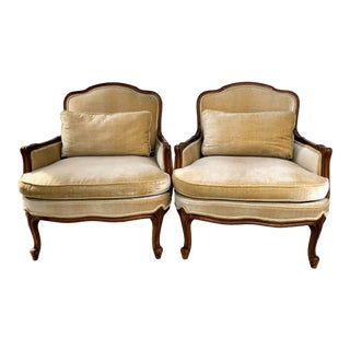 Weiman Queen Anne Bergere Arm Chairs in Wheat Velvet- A Pair For Sale
