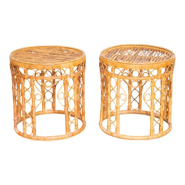 Vintage Boho Chic Rattan Bamboo Side Tables - a Pair For Sale
