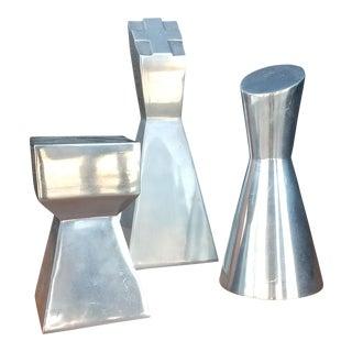 Modernist Aluminum Chess Decor Pieces - Set of 3 For Sale
