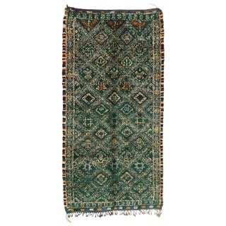 Late 20th Century Green Beni M'Guild Moroccan Rug - 6′5″ × 12′6″ For Sale