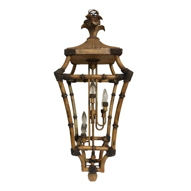 Chinoiserie Bamboo Style Lantern For Sale