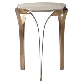 """""""Angel-Falls"""" Side Table in Cream Shagreen & Bronze-Patina Brass, R & Y Augousti For Sale"""