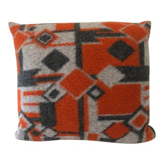 Grey and Orange Wool Patterned Pillow For Sale