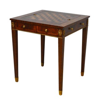 Chippendale Maitland Smith Mahogany Banded Game Table For Sale