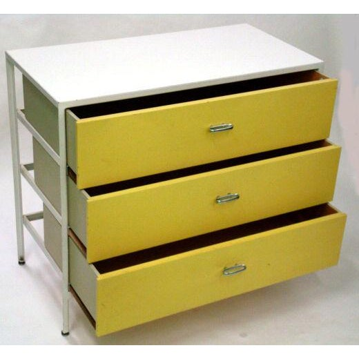 1950s George Nelson 3 Drawer Steel Frame Chests - a Pair For Sale - Image 5 of 6