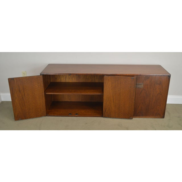 Mid Century Modern Walnut Low 4 Door Credenza Cabinet For Sale - Image 12 of 13