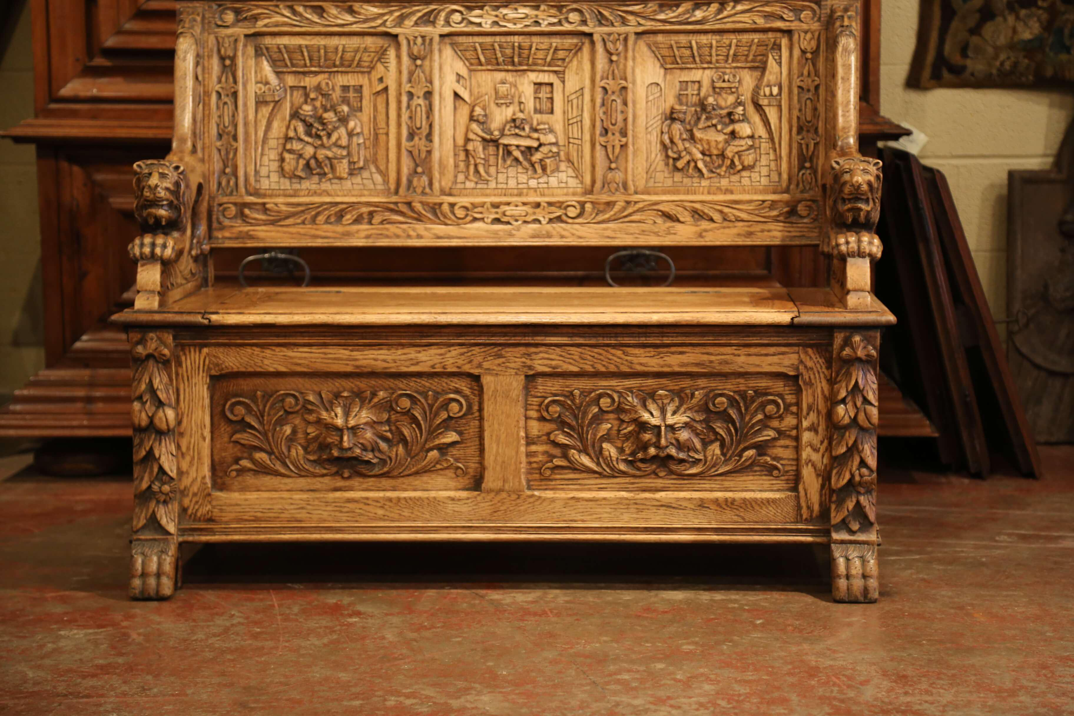 Late 19th Century Exceptional 19th Century French Carved Oak Bench With  Storage Trapdoor For Sale
