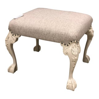 Chippendale Ball and Claw Linen Queen Anne Bench Ottoman For Sale