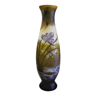 1990s Dragonflies Multi Colors Large Glass Art Vase After Galle' For Sale