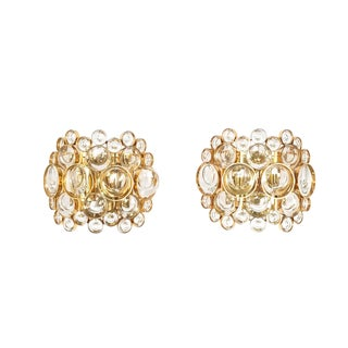 Pair of Gold-Plated Brass and Crystal Glass Wall Lamps Sconces by Palwa, 1960 For Sale