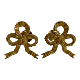 Vintage Brass Bow Tiebacks - a Pair For Sale