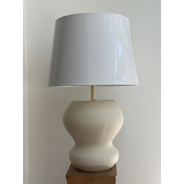 White 1980s Matte White Plaster Table Lamp by Michael Taylor For Sale - Image 8 of 13