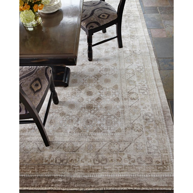 Wood Fine Khotan Hand knotted Bamboo/Silk Camel/Ivory Rug-8'x10' For Sale - Image 7 of 11