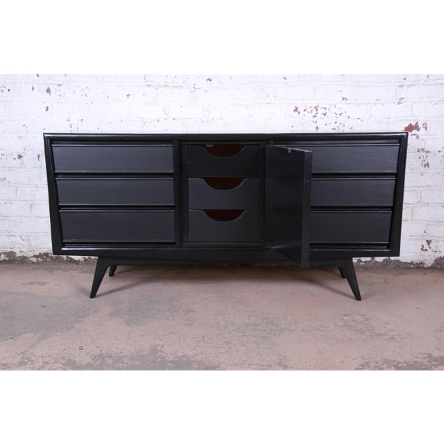 Mid-Century Modern Ebonized Walnut Triple Dresser or Credenza by United For Sale In South Bend - Image 6 of 11