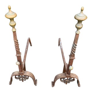 20th Century Brass Andirons - a Pair For Sale