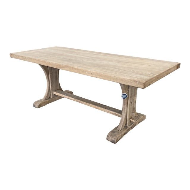 French Bleached Walnut Trestle Table For Sale