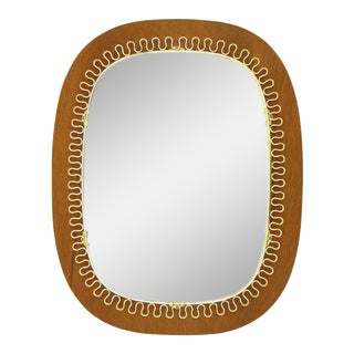 Josef Frank Brass and Teak Mirror, circa 1960 For Sale