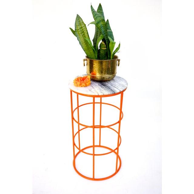 Carrara Marble & Orange Metal Fern Stand Pedestal Table - Image 4 of 11