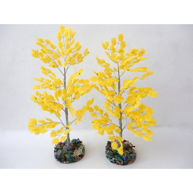 Yellow Quartz & Semi Precious Stone Trees - Pair - Image 4 of 8