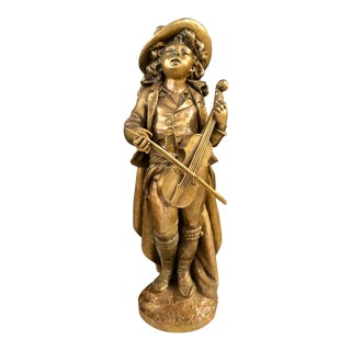 Adolph Maubach Signed 19th Century Bronze Sculpture of a Young Violinist For Sale