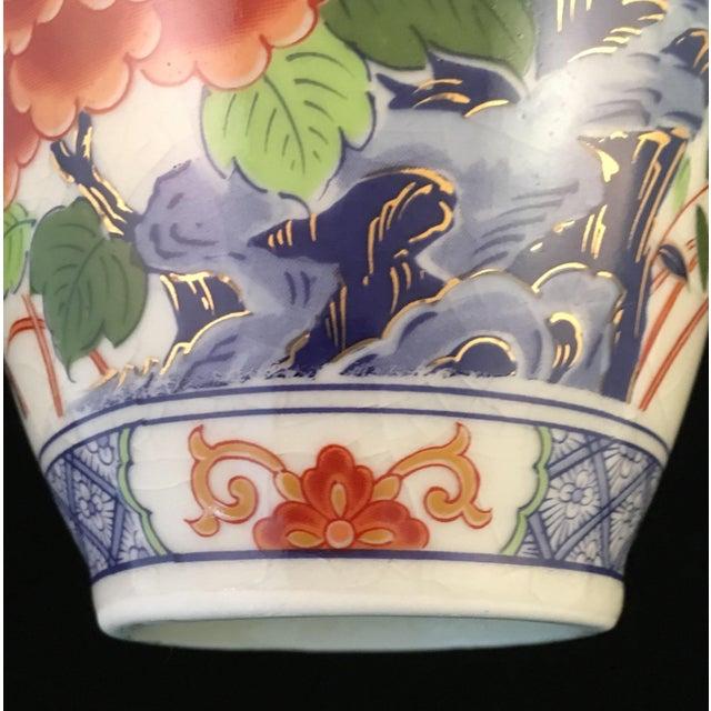 Japanese Floral and Bird Crackle Glazed Vase For Sale - Image 9 of 13