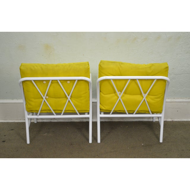 Brown Jordan Style Mid-Century White Patio Lounge Chairs - A Pair For Sale - Image 4 of 10