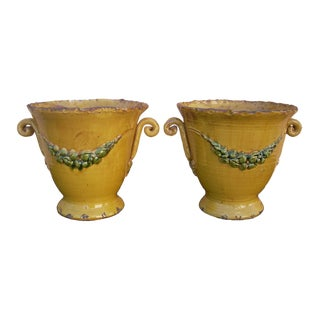 20th Century Italian Amber Ceramic Vietri Pots - a Pair For Sale