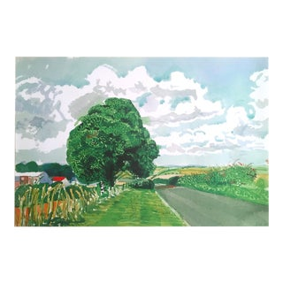 "David Hockney Fine Art Lithograph Print Midsummer : East Yorkshire Series "" Road and Tree Near Wetwang "" 2004 For Sale"