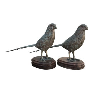 Vintage Brass Pheasant Figurines - a Pair For Sale