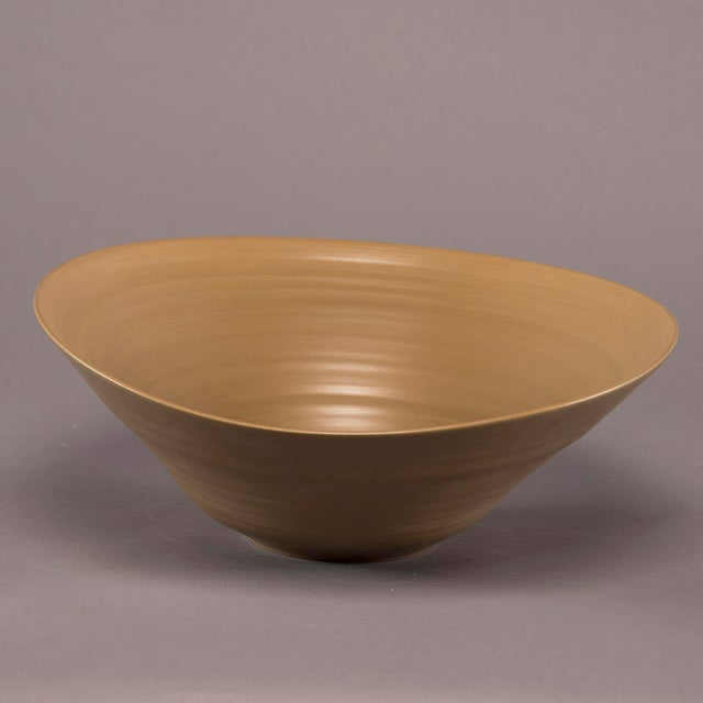 2010s Medium Hand Crafted Italian Deep Ceramic Bowl in Cappuccino Glaze For Sale - Image 5 of 5