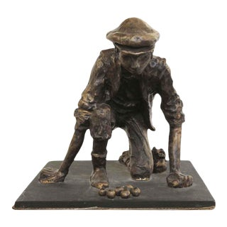 Bronze Sculpture of a Boy Playing Marbles For Sale