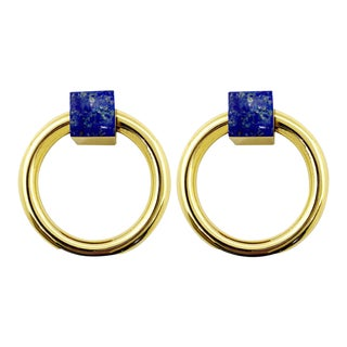 Addison Weeks Porter RIng Pull, Brass & Lapis - a Pair For Sale