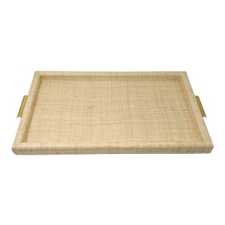 Ralph Lauren Inspired Woven Straw and Brass Serving Tray For Sale