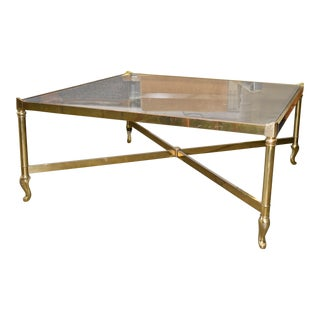 1960s Vintage LaBarge Smoked Glass Top Brass Coffee Table For Sale
