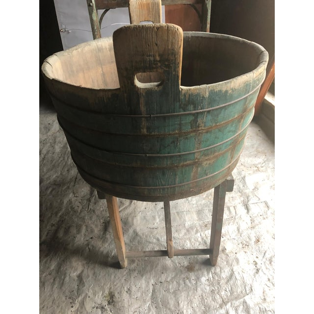 1940s Distressed Country Washing Barrel Tub and Stand For Sale - Image 5 of 13